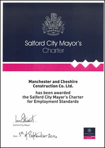 Salford City Mayor's Charter for Employment Standards certificate