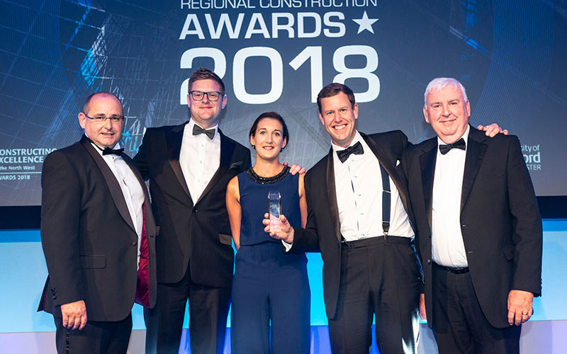 Pictured left to right are MC Construction directors Eugene O'Callaghan, Russ Forshaw, Michelle Richardson and David Lowe with Peter Commins, far right, north west managing director of category sponsor Kier Construction, who presented the award